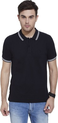Urban Nomad By INMARK Solid Men's Polo Neck Black T-Shirt