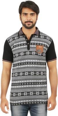 curviva Geometric Print Men's Polo Neck Black T-Shirt