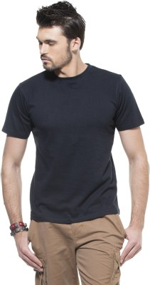 Zovi Solid Men's Round Neck Black T-Shirt