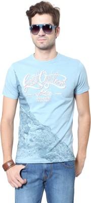 People Printed Men's Round Neck Blue T-Shirt