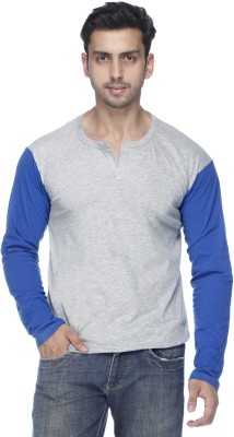 Demokrazy Solid Men's Henley Grey T-Shirt