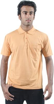 0-Degree Solid Men's Polo Neck Orange T-Shirt