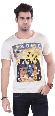 Contrast Graphic Print Men's Round Neck White T-Shirt