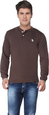 The Cotton Company Solid Men's Henley Brown T-Shirt