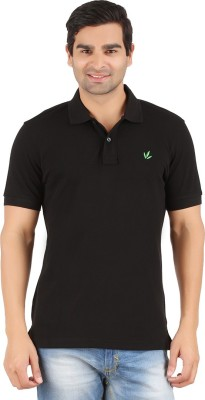 Lavos Solid Men's Polo Neck Black T-Shirt
