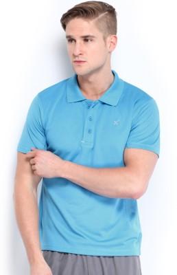 HRX Solid Men's Polo Neck Blue T-Shirt