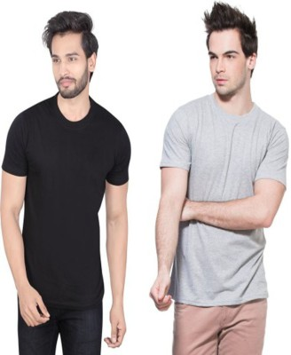 Louis Mode Solid Men's Round Neck Black, Grey T-Shirt