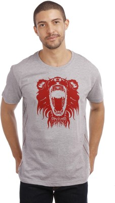 Leo Animal Print Men's Round Neck Grey T-Shirt