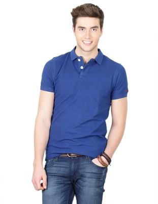 Basics Solid Men's Polo Neck Blue T-Shirt