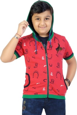 Mint Printed Boy's Hooded Pink T-Shirt