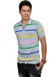 Blue 69 Striped Men's Polo Neck Grey T-S...