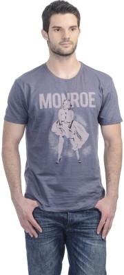 Marilyn Monroe Printed Men's Round Neck Blue T-Shirt