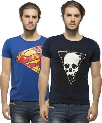 Alan Jones Printed Men's Round Neck Dark Blue, Blue T-Shirt