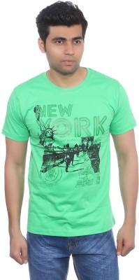 Studio Nexx Printed Men's Round Neck Light Green T-Shirt