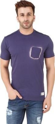 Spunk Solid Men's Round Neck Blue T-Shirt
