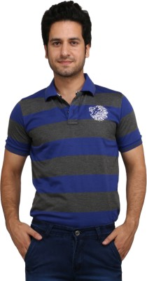 Rags Style Striped Men's Polo Blue T-Shirt