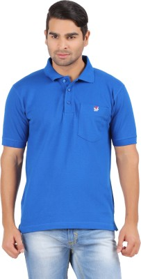4thneed Solid Men's Polo Blue T-Shirt