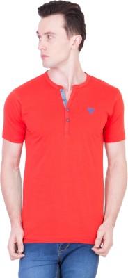 Ganzm Solid Men's Henley Red T-Shirt