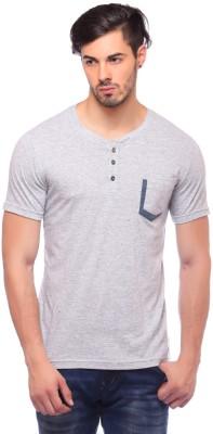 Blue Monkey Self Design Men's Henley Grey T-Shirt
