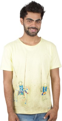 Pulpypapaya Printed Men's Round Neck Yellow T-Shirt