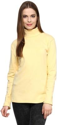Hypernation Solid Women's Turtle Neck Yellow T-Shirt