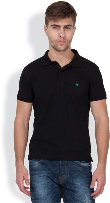 The Indian Garage Co. Solid Men's Polo Neck Black T-Shirt