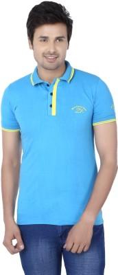 Kraasa Self Design Men's Polo Neck Light Blue, Yellow T-Shirt