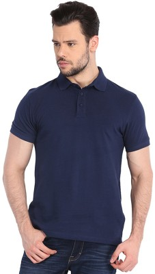 Faded Finch Solid Men's Polo Neck Dark Blue T-Shirt