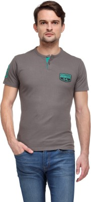 Flippd Solid Men's Henley Beige T-Shirt
