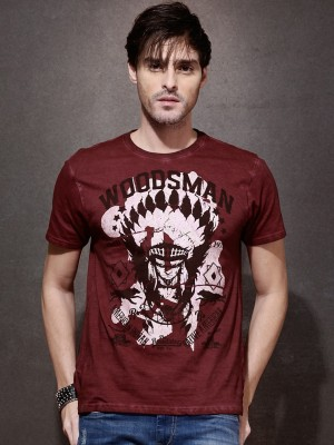 Roadster Printed Men's Round Neck Maroon T-Shirt