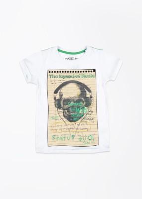 Status Quo Cubs Printed Boy's Round Neck White T-Shirt