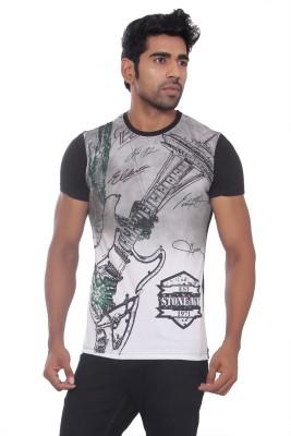 Pezzava Self Design Men's Round Neck Reversible Black, White T-Shirt