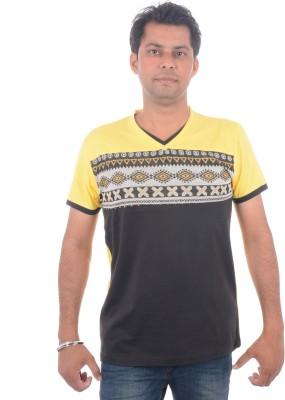 All Ruggby Printed Men's V-neck Gold T-Shirt