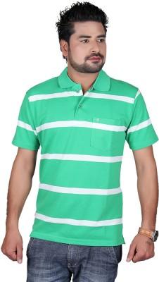 Cute Collection Striped Men's Polo Neck Multicolor T-Shirt