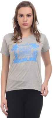 Orange Plum Printed Women's Round Neck Grey T-Shirt