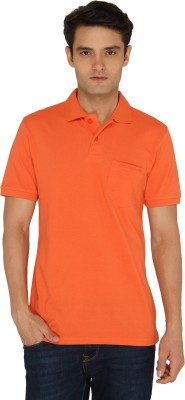 Chromozome Solid Men's Polo Neck Orange T-Shirt