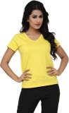 Alba Solid Women's V-neck Yellow T-Shirt