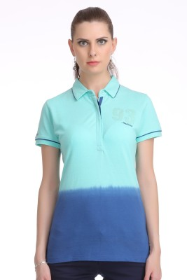 Madame Solid Women's Polo Neck Green T-Shirt