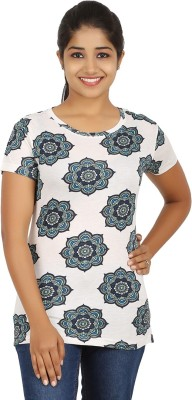 Humtees Casual Short Sleeve Floral Print Women's White Top