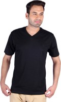 Humbert Solid Men's V-neck Black T-Shirt