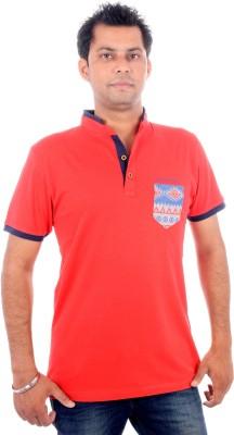 All Ruggby Printed Men's Mandarin Collar Red T-Shirt