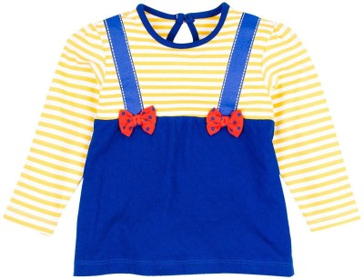Mom & Me Striped Girl's Round Neck Multicolor T-Shirt