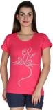 Faireno Printed Women's Round Neck Pink ...