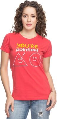 Status Quo Printed Women's Round Neck Red T-Shirt