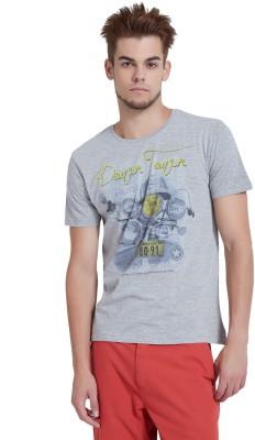 Breakbounce Printed Men's Round Neck Grey T-Shirt