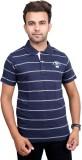 Port Striped Men's Polo Neck Blue T-Shir...
