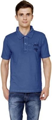 Era of Attitude Applique Men's Polo Neck Blue T-Shirt