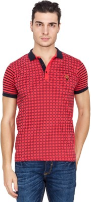 Four Square Printed Men's Polo Neck Red T-Shirt