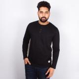 Arcanumz Solid Men's Henley Black T-Shir...