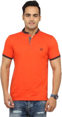 Byrock Solid Men's Mandarin Collar Orange T-Shirt